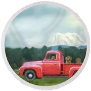 Country Drive Round Beach Towel