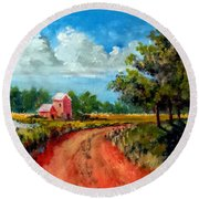 Round Beach Towel featuring the painting Country Lane by Jim Phillips