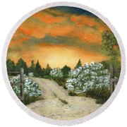 Round Beach Towel featuring the painting Country Road by Anastasiya Malakhova