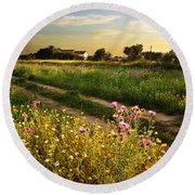 Countryside Landscape Round Beach Towel