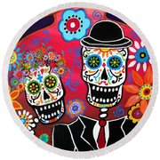 Couple Day Of The Dead Round Beach Towel by Pristine Cartera Turkus