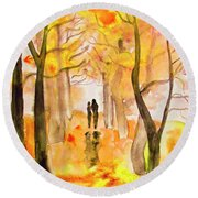 Couple On Autumn Alley, Painting Round Beach Towel