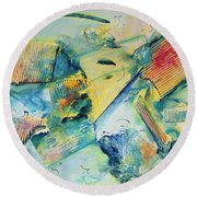 Round Beach Towel featuring the painting Courage Bolstering Strength by Asha Carolyn Young