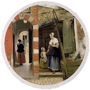 Courtyard Of A House In Delft Round Beach Towel