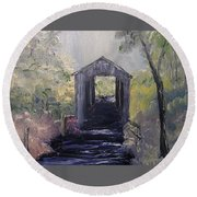 Covered Bridge 1 Round Beach Towel