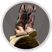 Cowboy Boots  Round Beach Towel