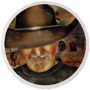 Round Beach Towel featuring the digital art Cowboy by Robert Smith