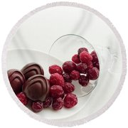 Cranberry Chocolate Round Beach Towel by Sabine Edrissi