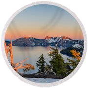 Crater Lake Panorama Round Beach Towel