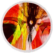 Crazy Colored Abstract Round Beach Towel