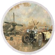 Cream Cracker Mg 4 Spitfires  Round Beach Towel