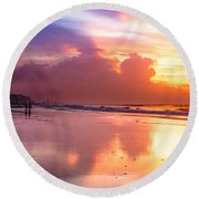 Crescent Beach September Morning Round Beach Towel by David Smith