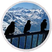 Crows On Top Of Mount Titlis - Switzerland Round Beach Towel by Joseph Hendrix