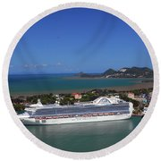 Round Beach Towel featuring the photograph Cruise Port by Gary Wonning