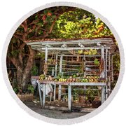 Round Beach Towel featuring the photograph Cuban Fruit Stand by Joan Carroll