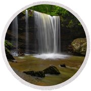 Round Beach Towel featuring the photograph Cucumber Falls by Ronald Santini