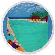 Curacao Lagoon Round Beach Towel