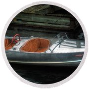 Cute Boat - 1948 Feather Craft Round Beach Towel