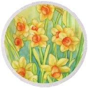 Daffodils In Yellow Round Beach Towel