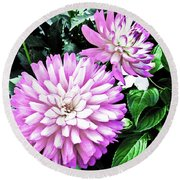 Dahlia Round Beach Towel by Cesar Vieira
