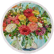 Dahlias Round Beach Towel