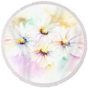 Round Beach Towel featuring the mixed media Daisy by Elizabeth Lock
