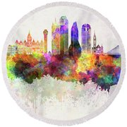 Dallas Skyline In Watercolor Background Round Beach Towel by Pablo Romero