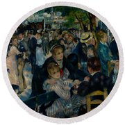 Dance At Le Moulin De La Galette  Round Beach Towel