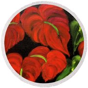 Dancing Anthuriums Round Beach Towel by Jenny Lee