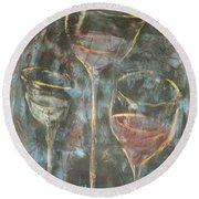 Dancing Glasses Round Beach Towel
