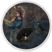 Dancing In The Rain Round Beach Towel