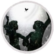 Round Beach Towel featuring the digital art Dancing Silhouettes by Holly Ethan