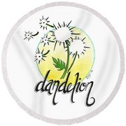 Round Beach Towel featuring the drawing Dandelion by Cindy Garber Iverson