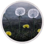 Dandelion Family Round Beach Towel by Judy Kirouac