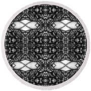 Dark Symetry Round Beach Towel