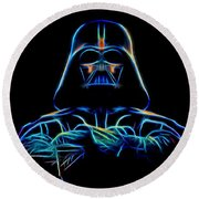 Round Beach Towel featuring the digital art Darth Vader by Aaron Berg