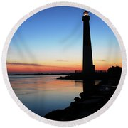 Dawn At Barnegat Light Round Beach Towel