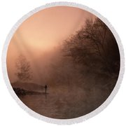 Dawn On The Lower Mountain Fork River Round Beach Towel