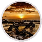 Dawn's First Light Round Beach Towel