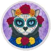 Round Beach Towel featuring the painting Day Of The Dead Cat Gal - Sugar Skull Cat by Carrie Hawks