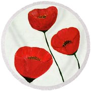 Round Beach Towel featuring the painting Decorative Poppies Acrylic Painting C62017 by Mas Art Studio