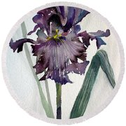 Deep Purple Round Beach Towel by Mindy Newman
