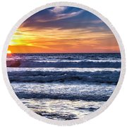 Del Mar Sunset Round Beach Towel