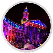 Denver City And County Building Holiday Lights Round Beach Towel
