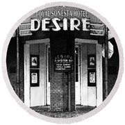 Desire Corner Bourbon Street French Quarter New Orleans Black And White Fresco Digital Art Round Beach Towel by Shawn O'Brien