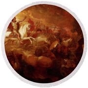 Destruction Of The Beast And The False Prophet Round Beach Towel