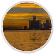 Detroit Sunset Round Beach Towel