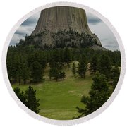 Round Beach Towel featuring the photograph Devil's Tower by Gary Lengyel