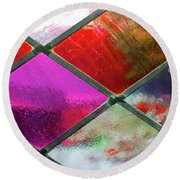 Diamond Pane Glass Red Round Beach Towel