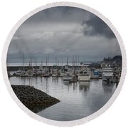 Discovery Harbour Round Beach Towel by Randy Hall